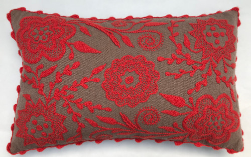 """Hand Woven and Embroidered Wool Rectangular Pillow (12"""" x 20"""")"""