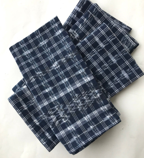 "Handwoven Traditional Repurposed Cloth Napkins Indigo  set of 4 Guatemala (18""x 18)"