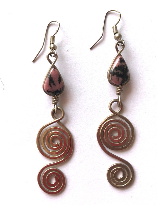 "Handmade Silver Wire Spiral Earrings Guatemala (2.5"" L x .75"" w)"