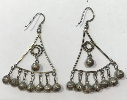 "Handmade Vintage Silver  Earrings Morocco (2"" L x 1.25"" w)"