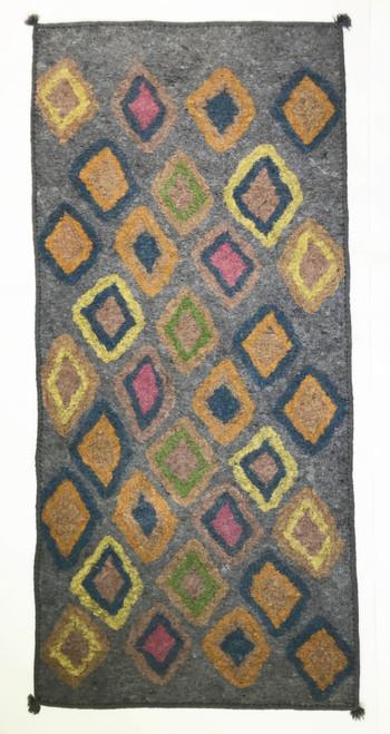 "Handmade Wool Felt  Diamonds Runner Rug Afghanistan (30"" x 72"")"