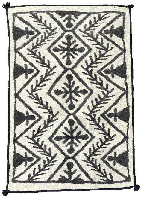 "Handmade Wool Felt Zig Zag Rug Afghanistan (48"" x 72"")"
