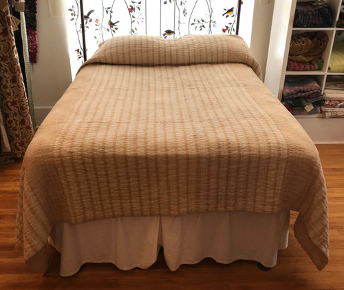 Handwoven Hand Stitched Organic Cotton Natural Dyed Quilt Pale Peach Bedspread