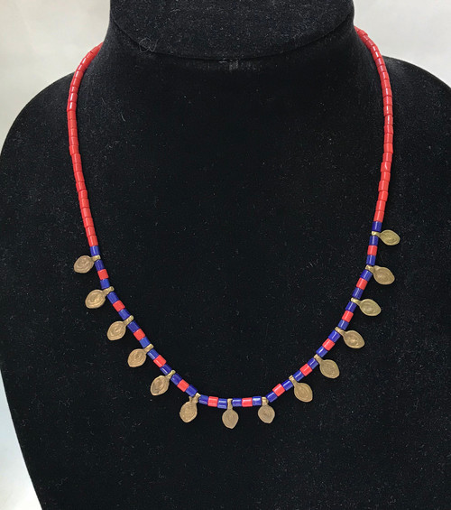"""Brass and Glass Bead Necklace India ( 9"""" drop)"""