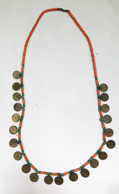 "Long Old Coin and Glass Bead Necklace India ( 17"" drop)"