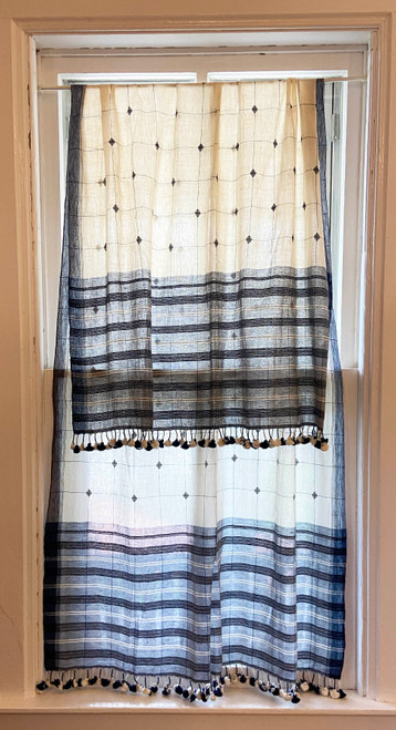 Handwoven Organic Cotton Natural Dyed Curtain India white indigo dupatta
