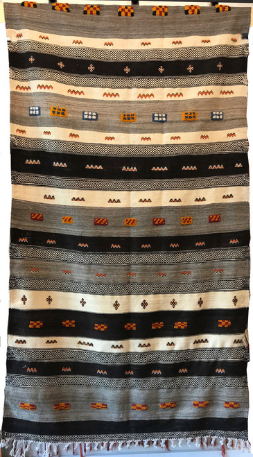 """Handwoven Flat Weave with Pile Wool Rug Morocco (47"""" x 91"""")"""