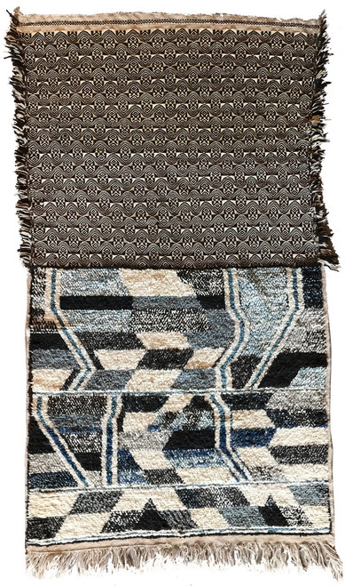 """Handwoven Contemporary Flat Weave and Pile Wool Rug Morocco (45"""" x 89"""")"""