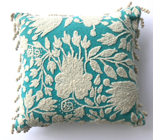 Peru Woolen Hand Woven and Embroidered Crewel Pillow Turquoise