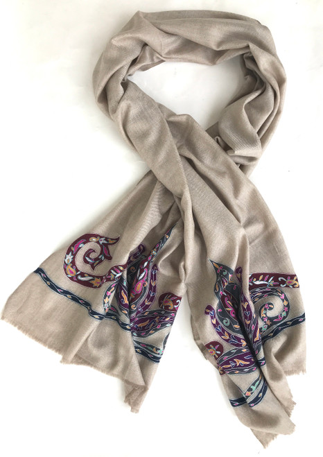 "Hand Painted and Embroidered Fine Wool Scarf or Shawl India (27"" x 80""))"