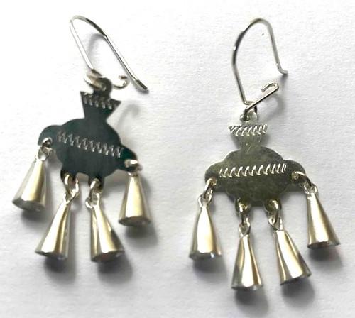 "Handmade Silver Earrings Chile (1.5"" x .6"")"