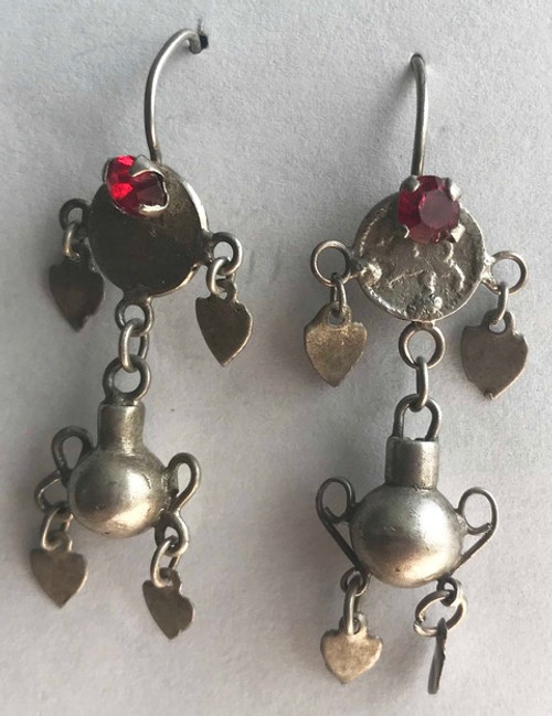 "Handmade Silver Vintage Earrings 4 Guatemala (2"" x .6"")"