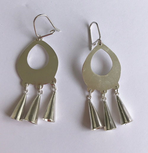 "Handmade Silver Earrings Chile (2.5"" x .75"")"