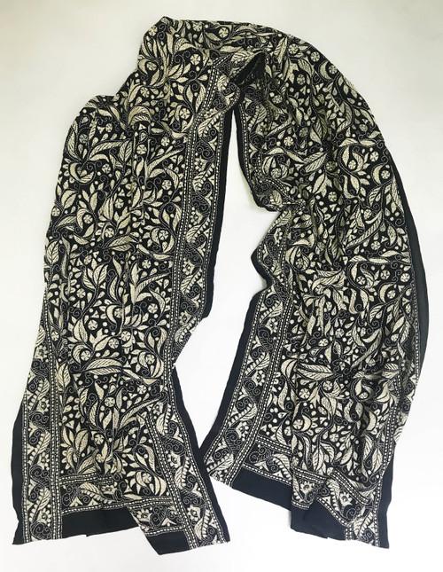 "Hand Embroidered Kantha Silk  Chiffon Scarf India (20"" x 74"")"