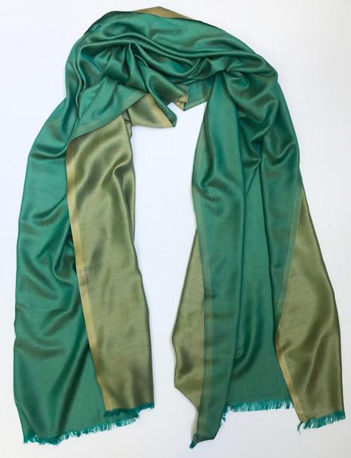 "Silk and Wool Two Tone Scarf Shawl India (29"" x  80"")"