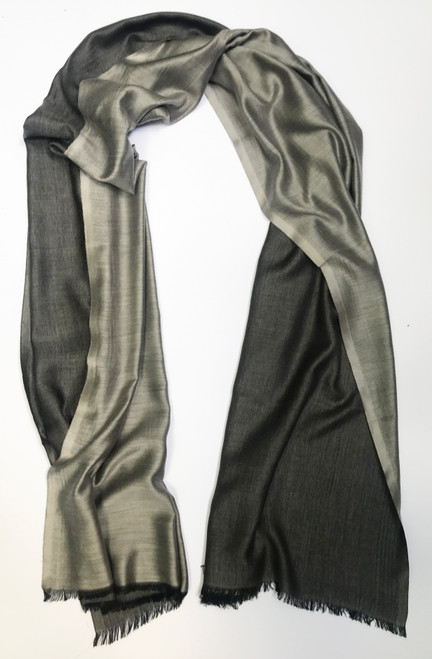 "Silk and Wool Two Tone Grey Scarf Shawl India (29"" x  80"")"