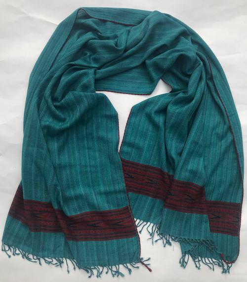 "Handwoven Fine Wool Teal Throw India (40"" x 82"")"
