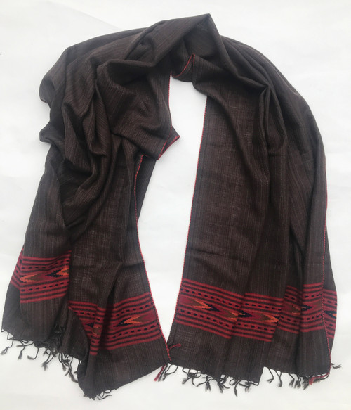 """Handwoven Fine Wool Brown Throw India (40"""" x 82"""")"""