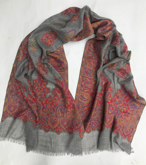 "Fine Wool Brocade Shawl India (27"" x  82"")"