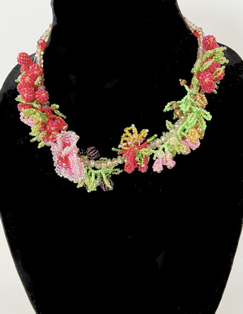 "Handmade Beaded Fruit Flower and Berry Necklace (12"" drop)"