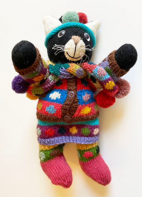 "Handmade Wool Felt and Knit Kitty Nepal (14"" x 6"")"