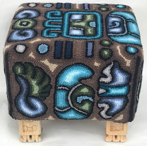 Handmade Multicolores Foot Stool Guatemala  (13.5 t  x 14.5 w)