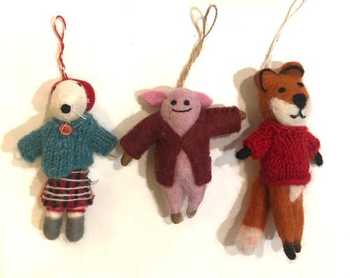 Handmade Wool Felt Animal Ornament Collection Nepal