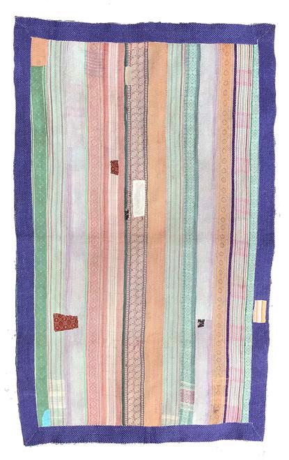 """Kantha Quilt Vintage Sari India 32 (48"""" x 72"""")"""