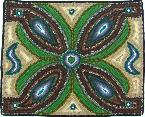 """Handmade Hooked Small Rug by Dolores Guatemala (18"""" x 22"""")"""