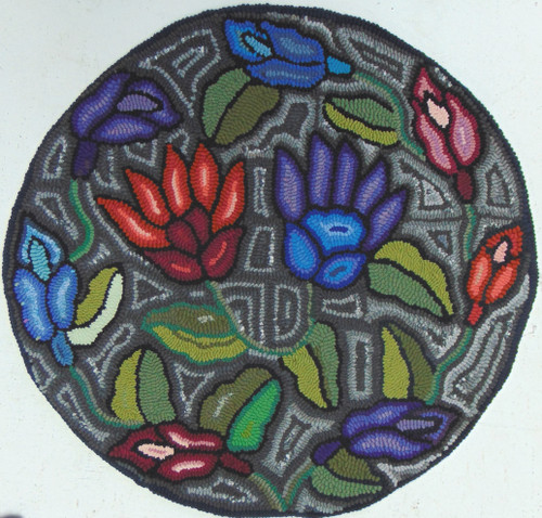 "Handmade Hooked Round Rug by Irma Guatemala (24""across)"