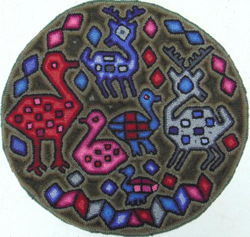 "Handmade Hooked Round Rug by Irma Raquel Guatemala (24""across)"