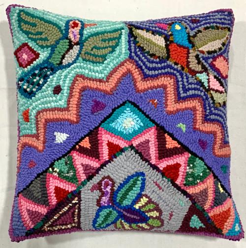 "Handmade Hooked Pillow Cover by Carmen Guatemala (16"" x 16"") recycled fabrics birds geometric"