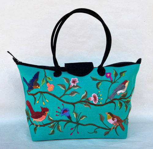 Handwoven Embroidered Turquoise Santiago Satchel with Black Suede Guatemala