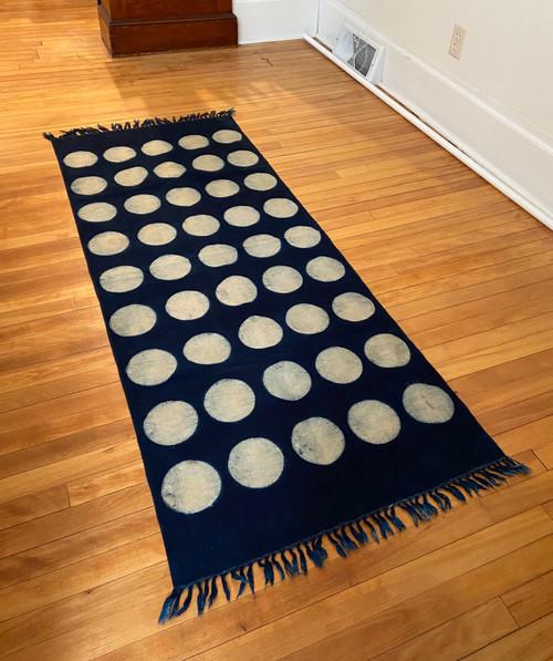 Handmade Block Printed Natural Dyed Indigo White Dot Canvas Runner Rug