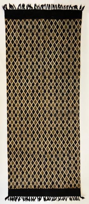 Handmade Block Printed Natural Dyed Charcoal Diamond Canvas Runner Rug India black charcoal grayish tan and natural