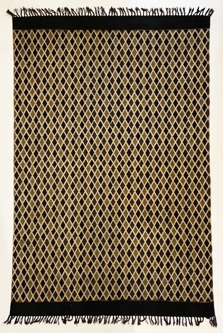 "Handmade Block Printed Natural Dyed Charcoal Diamond Canvas Rug India (48"" x 72"")"