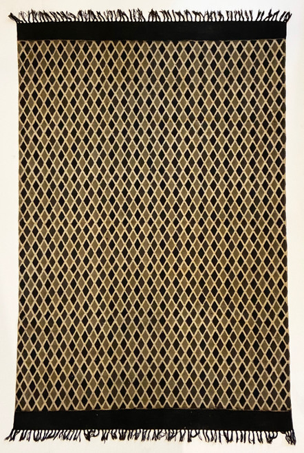Handmade Block Printed Natural Dyed Charcoal Diamond Canvas Rug India black charcoal, grayish tan and natural