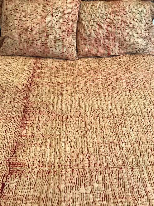 Handmade Shibori Cotton Natural Dyed Quilt King India brick rust white