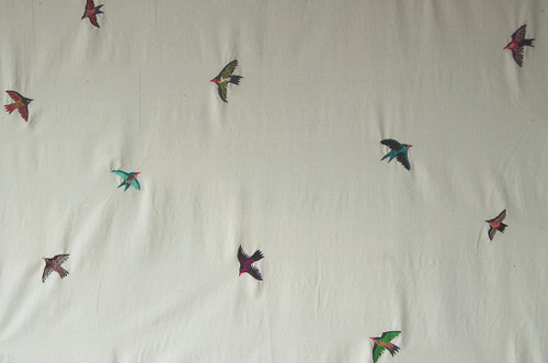 Handwoven Embroidered Cotton Flying Birds fabric  White