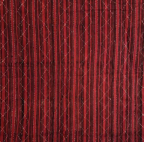 """Hand Block Printed and Stitched  Natural Dyed Cotton Fabric 4 India (45"""" wide)"""