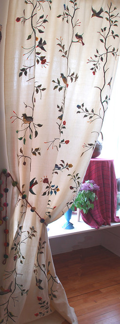 "Handwoven Embroidered Cotton Off White Vining Bird Panels Guatemala (50"" x 108"")"