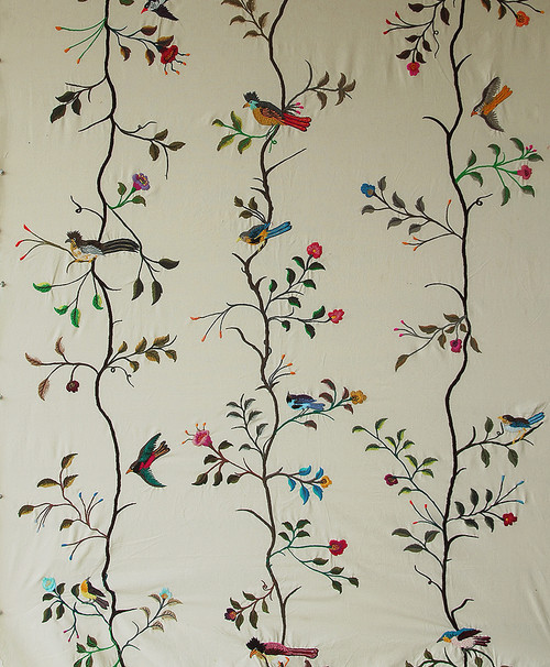 Handwoven Embroidered Cotton Off White Vining Bird Panels Guatemala