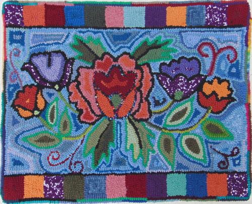 "Handmade Hooked Small Rug by Juana Flowers Guatemala (18"" x 22"")"