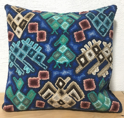 "Handmade Hooked Pillow Cover by Irma 3 Guatemala (18"" x 18"")"