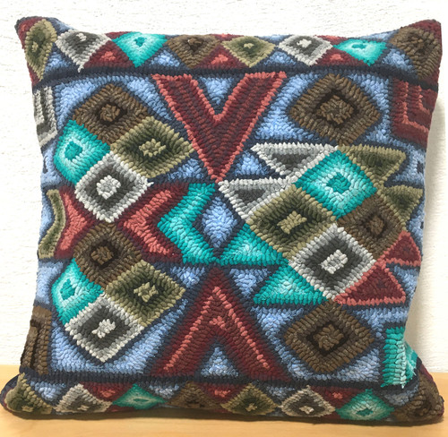 "Handmade Hooked Pillow Cover by Irma Raquel 2 Guatemala (18"" x 18"")"