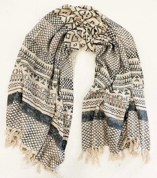 """Handwoven Block Printed Organic Cotton Throw A  India (50"""" x 71"""") white and blue grey"""