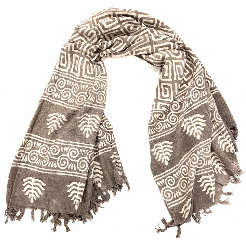 """Handwoven Block Printed Organic Cotton Throw C  India (52"""" x 71"""") taupe and white"""