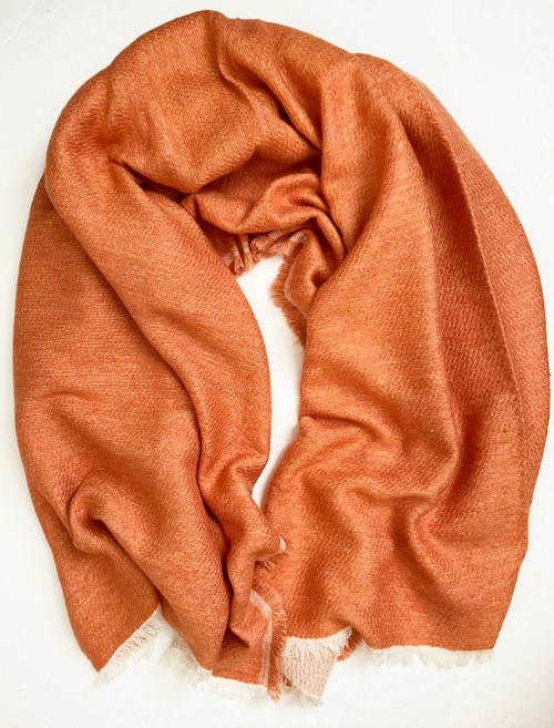 "Handwoven Soft Woolen Orange Throw  India (54"" x 74"")"