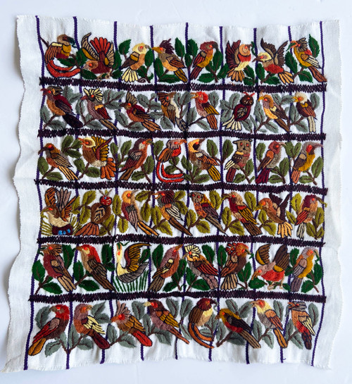 "Hand Embroidery Many Birds on Cotton Guatemala (14.5"" x 15"")"