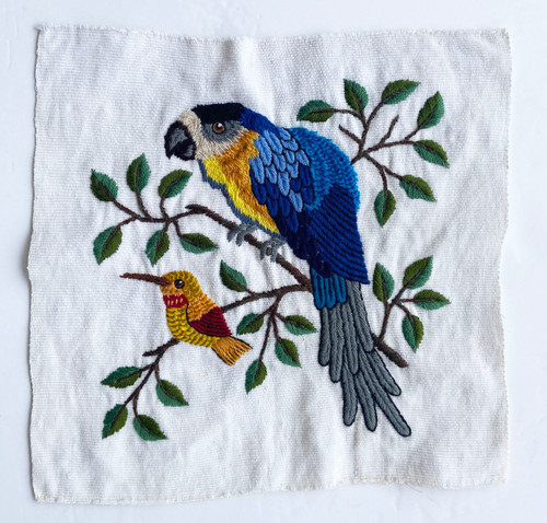"Hand Embroidery Two Birds on Cotton Guatemala (12"" x 11"")"
